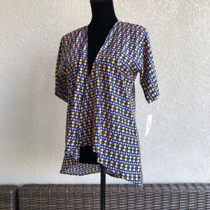 LuLaRoe Bianka Blue Purple Orange Polka Dot Kimono